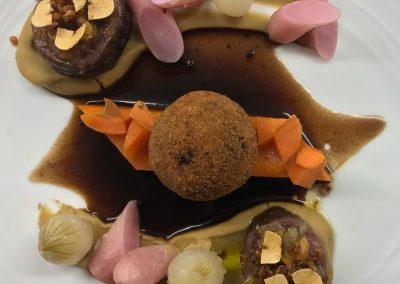 duo de boeuf et cromesquis foie gras